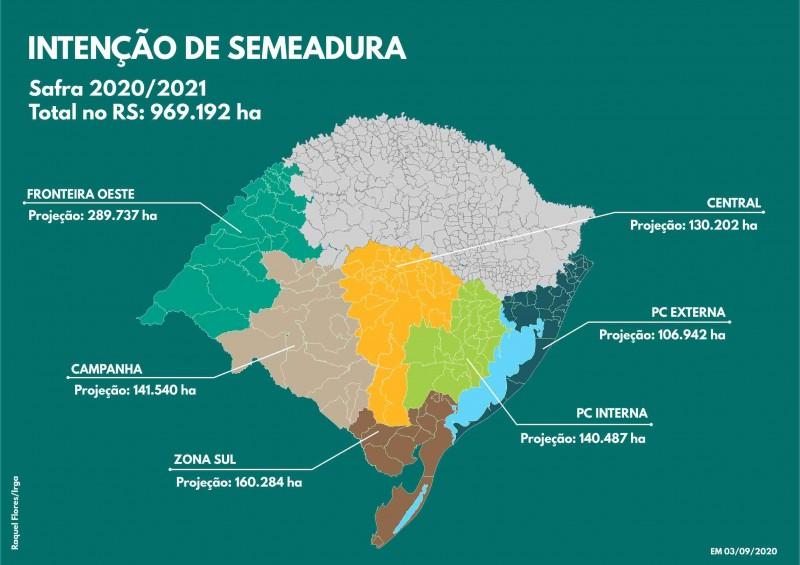 MAPA RS INTENÇÃO SEMEADURA SAFRA 2020 2021